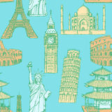 Sketch Eiffel tower, Pisa tower, Big Ben, Taj Mahal, Coliseum, C Stock Photography