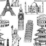 Sketch Eiffel tower, Pisa tower, Big Ben, Taj Mahal, Coliseum, C Royalty Free Stock Images