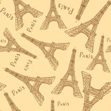 Sketch Eiffel tower,   seamless pattern Stock Photo