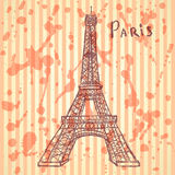 Sketch Eiffel tower, vector  background eps 10 Royalty Free Stock Images