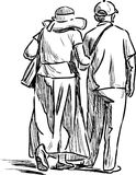 Sketch of an elderly spouses of townspeople on a stroll vector illustration