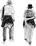 Sketch of the elderly spouses Royalty Free Stock Images