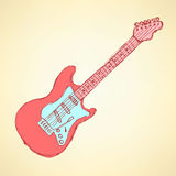 Sketch electric guitar musical instrument Royalty Free Stock Image