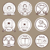 Sketch electric and internet labels Royalty Free Stock Images
