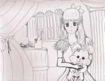 Sketch of elegant young lady holding a plush bunny rabbit, 2019 royalty free illustration