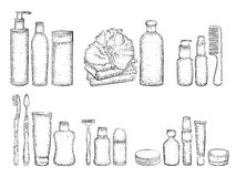 Sketch of elements for bath Stock Photos