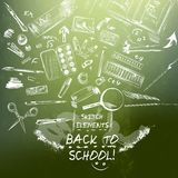Sketch elements chalk drawing imitation back to school theme Stock Image