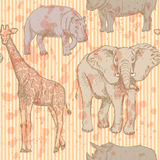 Sketch elephant, rhino, giraffe and hippo, vector seamless patte Stock Photography