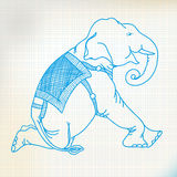 Sketch elephant sit. Ting on paper Stock Photo