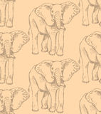 Sketch elephant, vector vintage seamless pattern Royalty Free Stock Photos