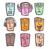 Sketch emoticons colored set Stock Photography