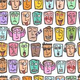 Sketch emoticons seamless pattern Royalty Free Stock Photography