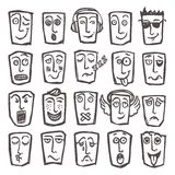 Sketch emoticons set Stock Images