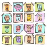 Sketch emoticons stickers set Stock Photography