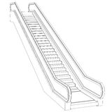Sketch escalator. Wire frame render Royalty Free Stock Photography