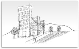 Sketch of estate housing with people, streets and trees Royalty Free Stock Photography