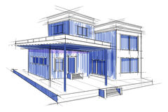 Sketch of exterior building draft blueprint design Royalty Free Stock Image