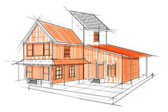 Sketch of exterior building draft blueprint design Royalty Free Stock Photo
