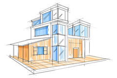 Sketch of exterior building draft blueprint design Royalty Free Stock Images