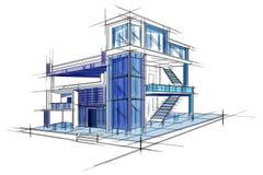Sketch of exterior building draft blueprint design. Easy to edit vector illustration of sketch of exterior building draft blueprint design stock illustration