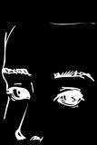 Sketch of the eyes to the portrait of a handsome man Royalty Free Stock Photo