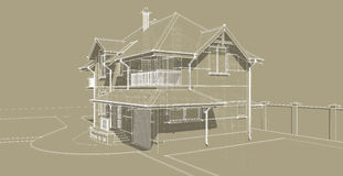 The sketch of the facade of a country house Royalty Free Stock Image