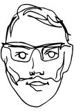 Sketch of the face of an adult male with a beard wearing glasses Stock Photography