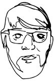Sketch of the face of an adult male with a beard wearing glasses Royalty Free Stock Photo