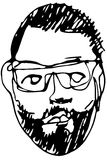 Sketch of the face of an adult male with a beard wearing glasses Stock Photo