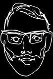 Sketch of the face of an adult male with a beard wearing glasses Stock Images