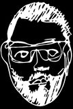 Sketch of the face of an adult male with a beard wearing glasses Royalty Free Stock Image