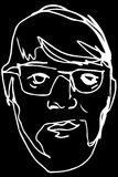 Sketch of the face of an adult male with a beard wearing glasses Royalty Free Stock Images