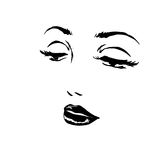 Sketch of face woman close-up Royalty Free Stock Photos