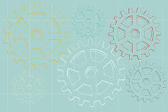 Sketch faded illustrated gears on blue background Royalty Free Stock Photos