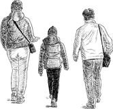 Sketch of a family on a stroll Stock Photo