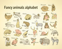 Sketch fancy animals alphabet  in vintage style Stock Photos