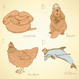 Sketch fancy animals alphabet in vintage style Stock Photography
