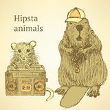 Sketch fancy animals  in vintage style Stock Photography