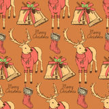Sketch fancy reindeer in vintage style with bell and stocking Royalty Free Stock Images