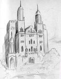 Sketch of a fantasy castle Stock Photography