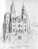 Sketch of a fantasy castle. Hand drawn pencil sketch of a fantasy castle Stock Photography