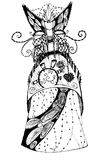Sketch of a fantasy dress for the theater and cinema royalty free illustration