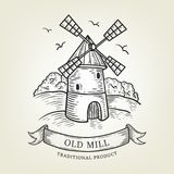 Sketch of farm with windmill. Vector illustration done in graphic style, isolated on background. Royalty Free Stock Image