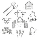 Sketch of farmer profession for agriculture design Stock Photography