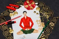 Sketch fashion designer clothing Royalty Free Stock Photos