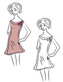 Sketch of fashion girl Royalty Free Stock Images