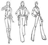 SKETCH. fashion girl. Hand-drawn fashion model Stock Photos
