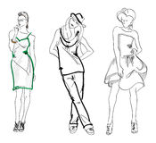 SKETCH. fashion girl. Hand-drawn fashion model Stock Photography