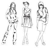 SKETCH. fashion girl. Hand-drawn fashion model. Vector illustration Stock Photos