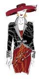 SKETCH. fashion girl. Hand-drawn fashion model. Vector illustration Royalty Free Stock Image